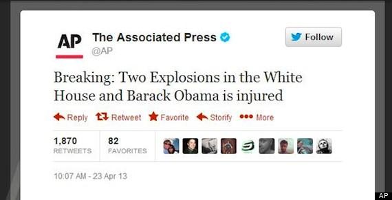 Hackean twitter de AP, 'atentan' contra Obama y se desploma la bolsa