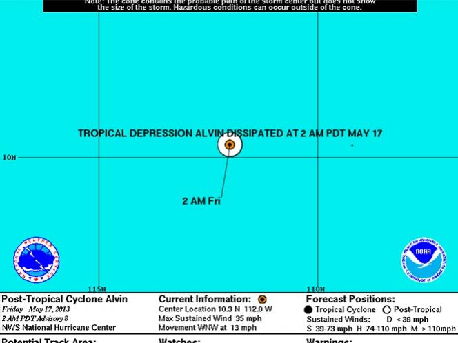 «Alvin» se degrada a depresión lejos de la costa del Pacífico mexicano