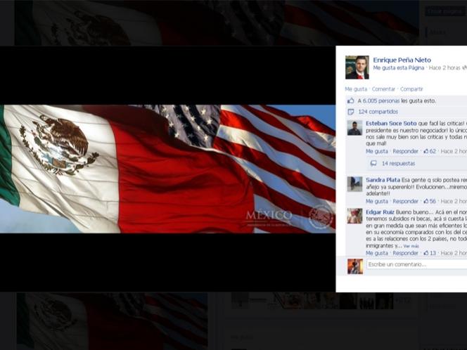 Banderas de México y EU 'ondean' en página de Facebook de Peña Nieto