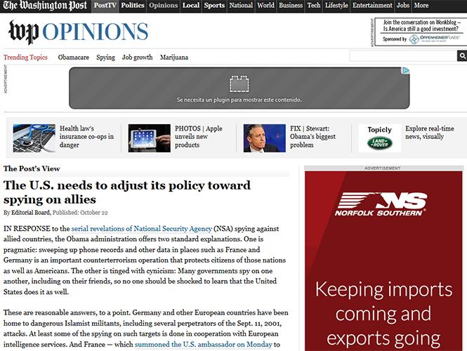 EU necesita ajustar su política de espionaje hacia sus aliados:TWP