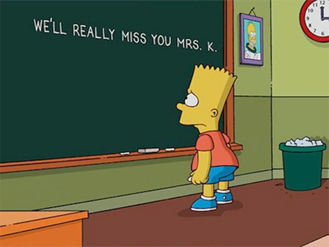 Bart Simpson se despide de la maestra Krabappel
