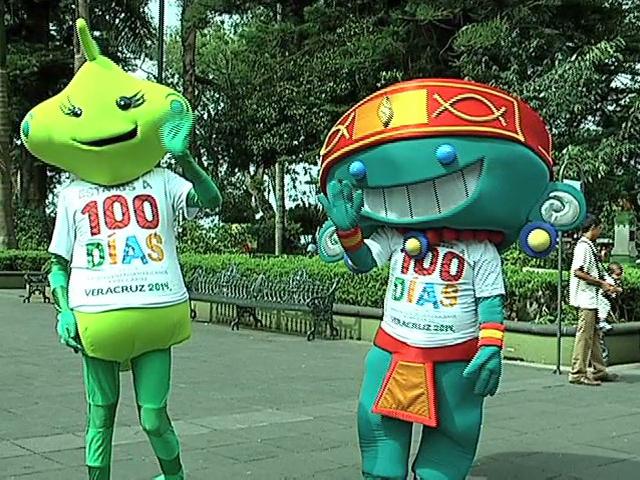 """""""Toto"""" y """"Bamba"""" conviven con veracruzanos a 100 días de los Juegos Centroamericanos"""