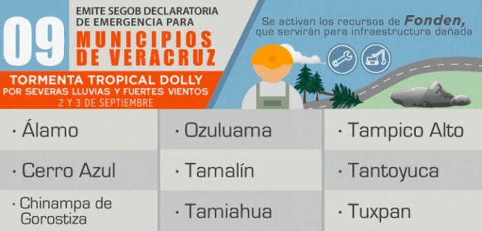 """Accederán al Fonden nueve municipios afectados por """"Dolly"""""""