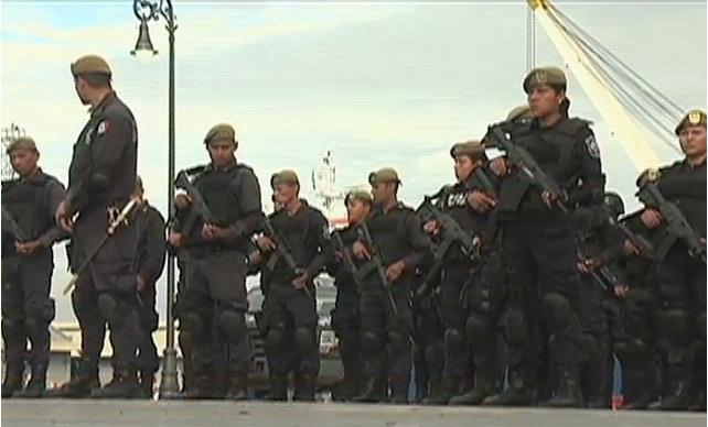 Ensaya Fuerza Civil en el Malecón de Veracruz previo a  su presentación