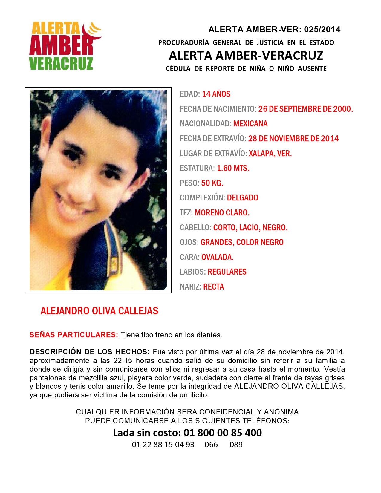 Se activa Alerta Amber por desaparición de menor de 14 años, en Xalapa