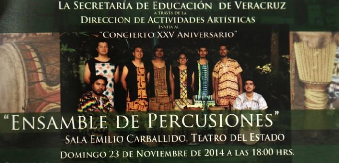 Invita SEV al concierto de XXV aniversario del Ensamble de Percusiones