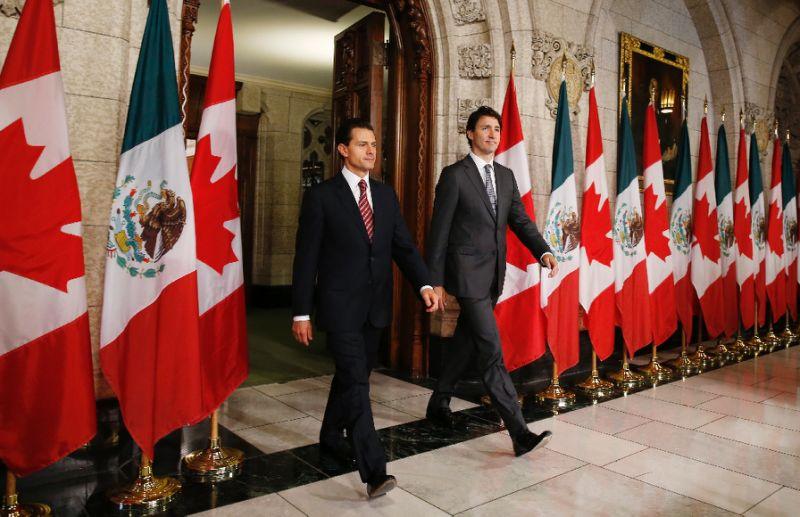 Actualización de Tratado beneficiará a los tres países: Peña Nieto y Trudeau