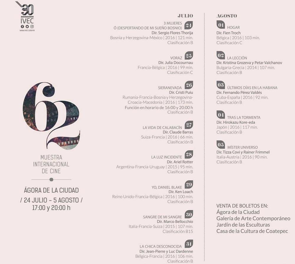 Este lunes inicia la 62 Muestra Internacional de Cine en el Ágora de la Ciudad