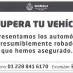 Publica el gobernador Yunes listado de vehículos para que víctimas de robo puedan recuperarlos
