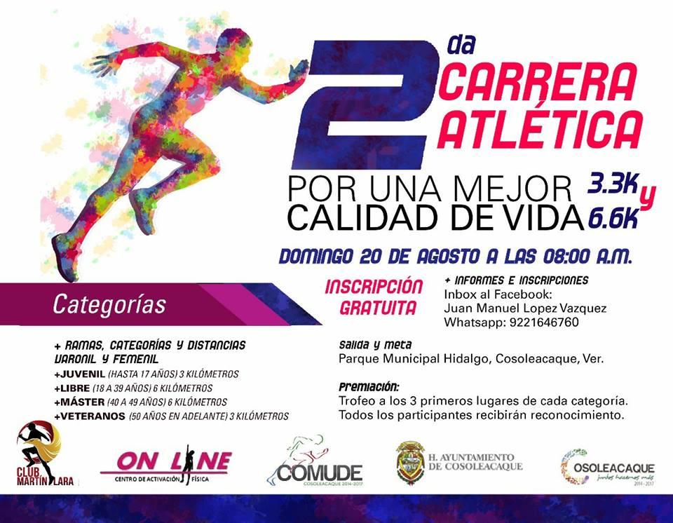 Anuncian carrera de tres y seis km en Cosoleacaque