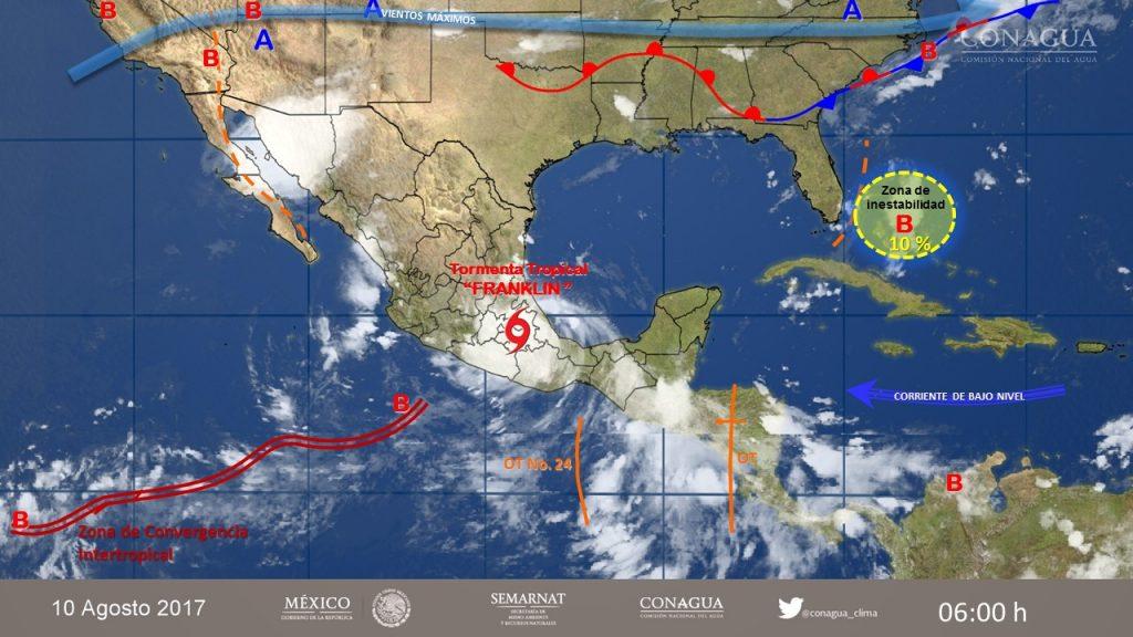 Franklin ya es baja remanente, pero continúa la alerta naranja en todo Veracruz