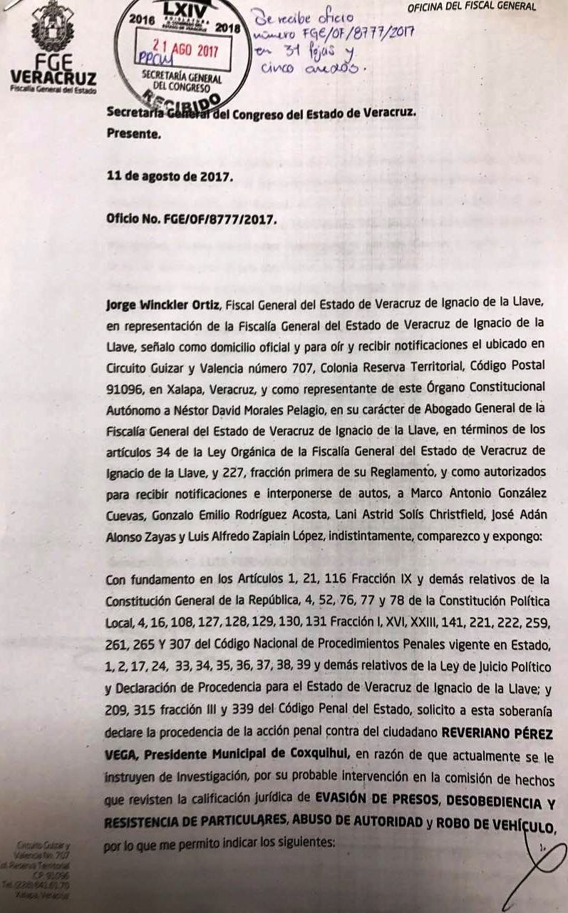 Presenta FGE solicitud de desafuero contra alcalde de Coxquihui