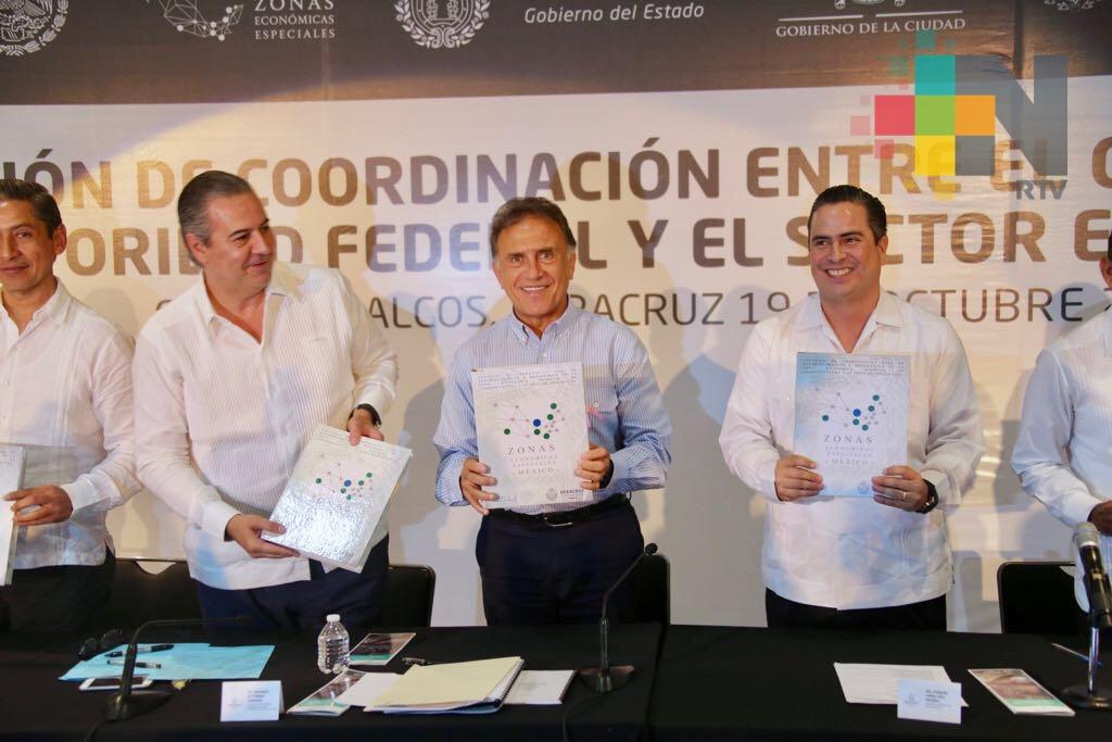 13 empresas invertirán 600 mdd en la Zona Económica Especial de Coatzacoalcos y van a generar 8 mil empleos: Gobernador Yunes
