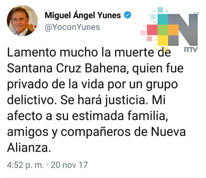 Se hará justicia, asegura el gobernador Yunes tras asesinato de alcalde electo en Hidalgotitlán