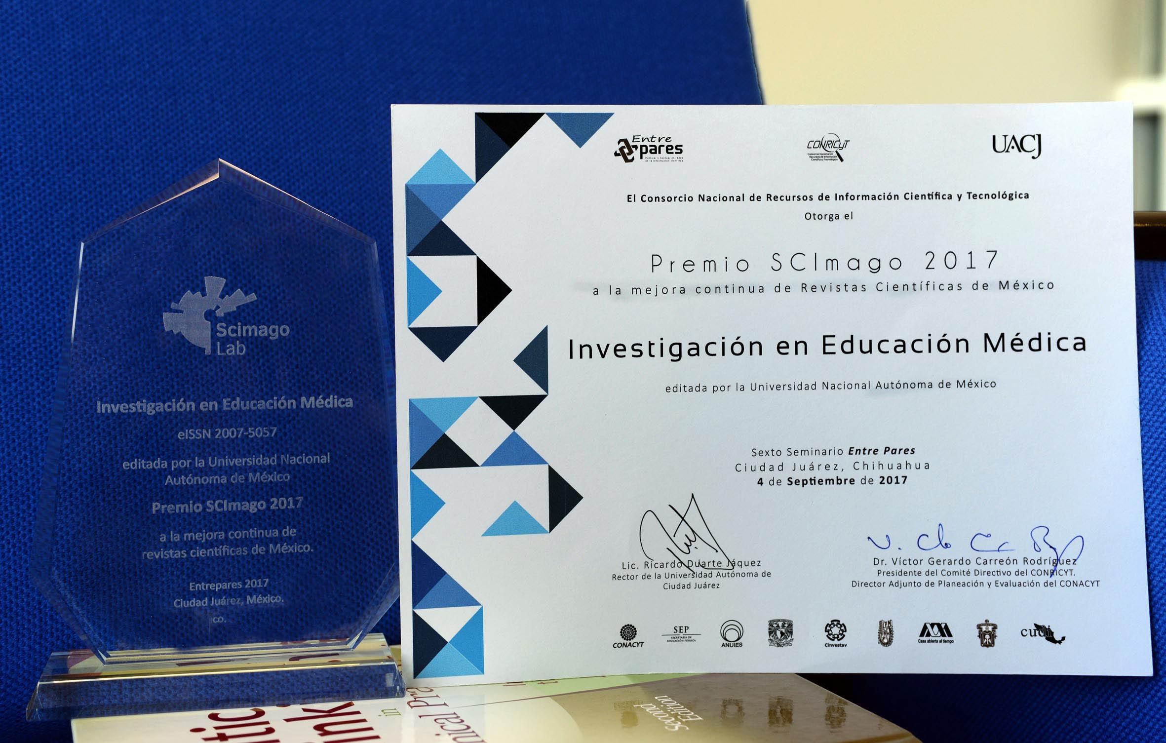 Recibe revista de la facultad de Medicina de la UNAM premio SCImago 2017