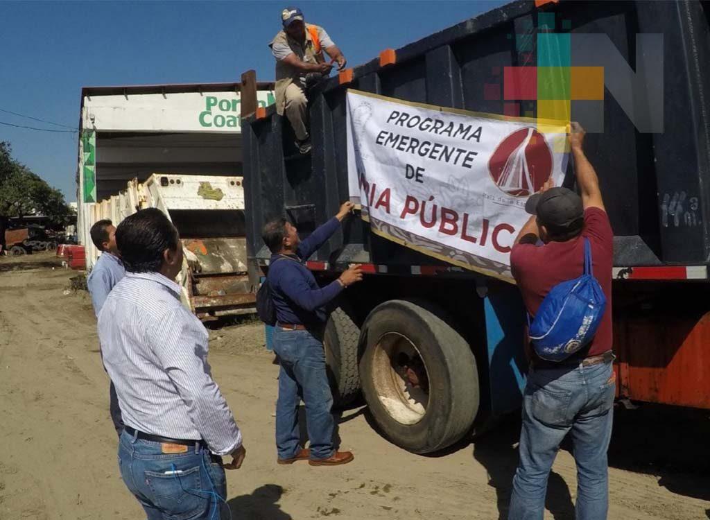 """Ponen en marcha """"Programa emergente de limpia pública"""" en Coatzacoalcos"""