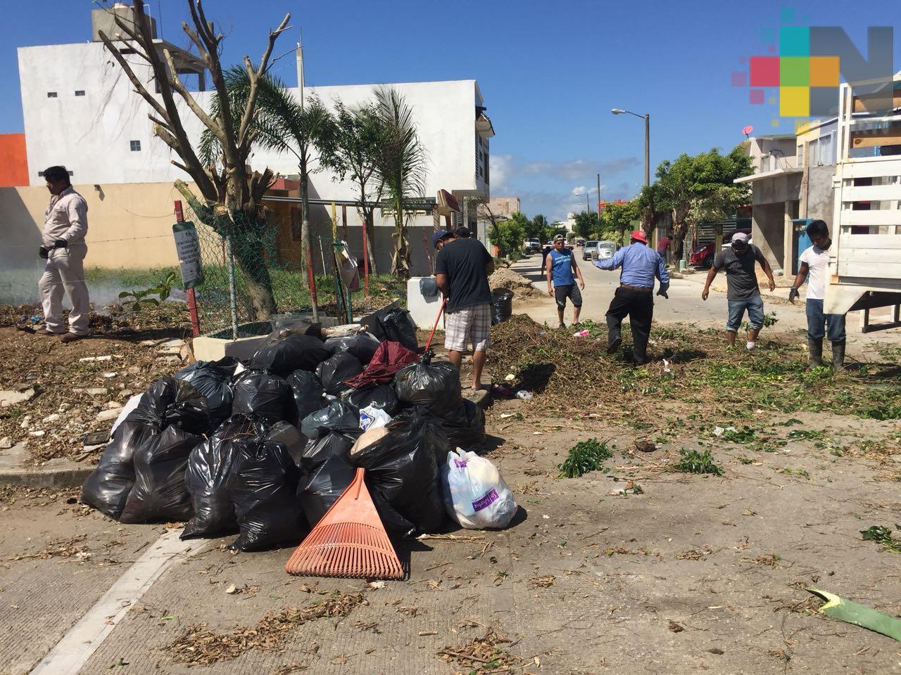 Ante falta de servicio de limpia pública, vecinos de Coatzacoalcos recolectan la basura de su colonia