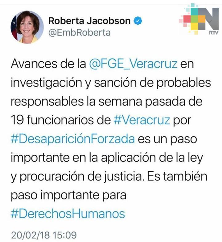 Reconoce gobierno de losEstados Unidosa la Fiscalía deVeracruzpor caso de desaparición forzada contra mandos y elementos de Seguridad Pública