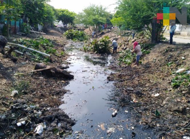 Agilizan trabajos de limpieza y desazolve de canales a cielo abierto en Coatzacoalcos