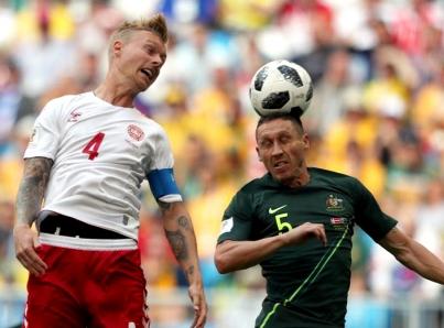 Selecciones de Dinamarca y Australia empatan 1-1 en Rusia 2018