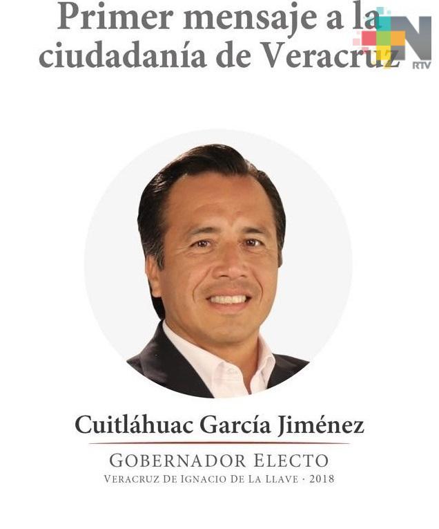 Este domingo Cuitláhuac García dará su primer mensaje como gobernador electo