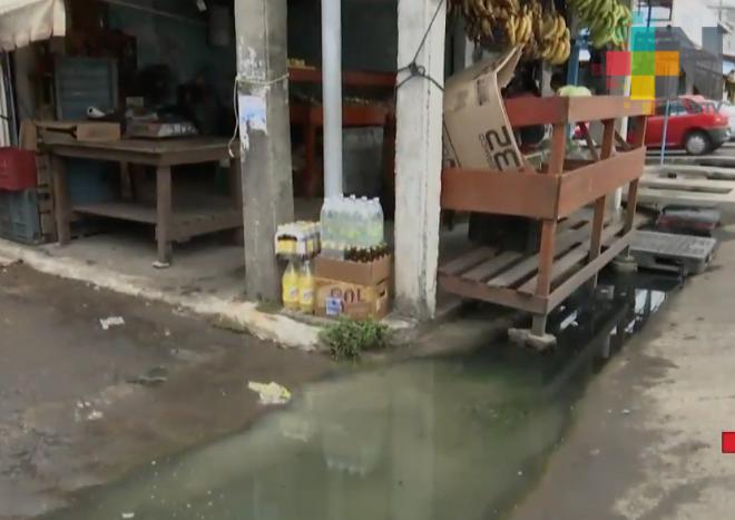 Mercado Malibrán reporta bajas ventas por encharcamientos de aguas negras