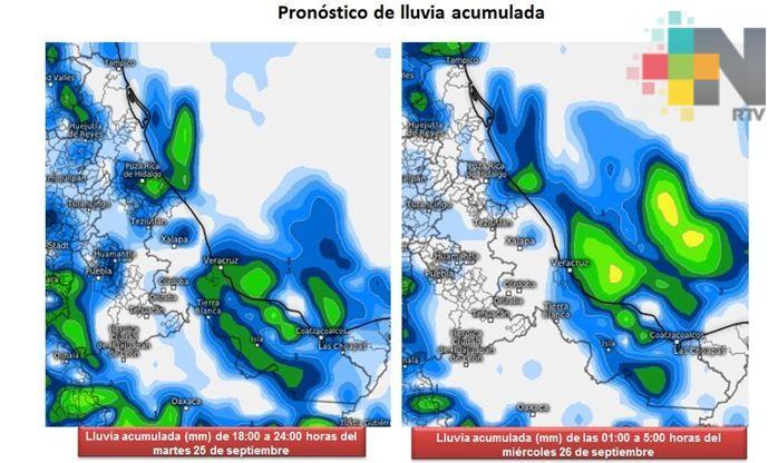 Se mantiene el potencial de lluvias y tormentas aisladas en  Veracruz