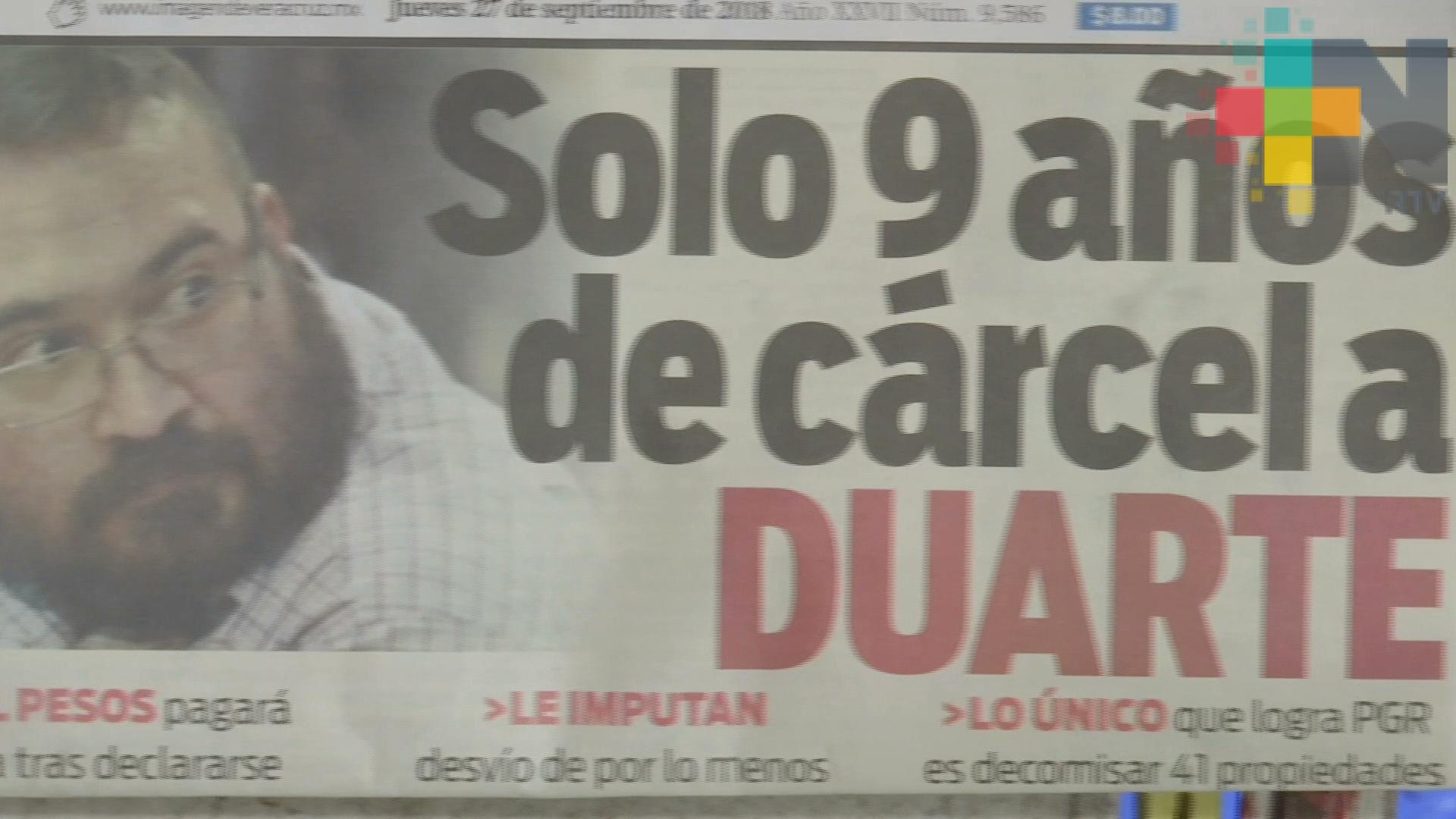 Inconforma a veracruzanos corta sentencia contra Duarte
