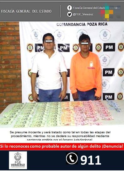 Detiene Policía Ministerial a dos probables extorsionadores en Poza Rica, Fiscalía Regional obtiene imputaciones