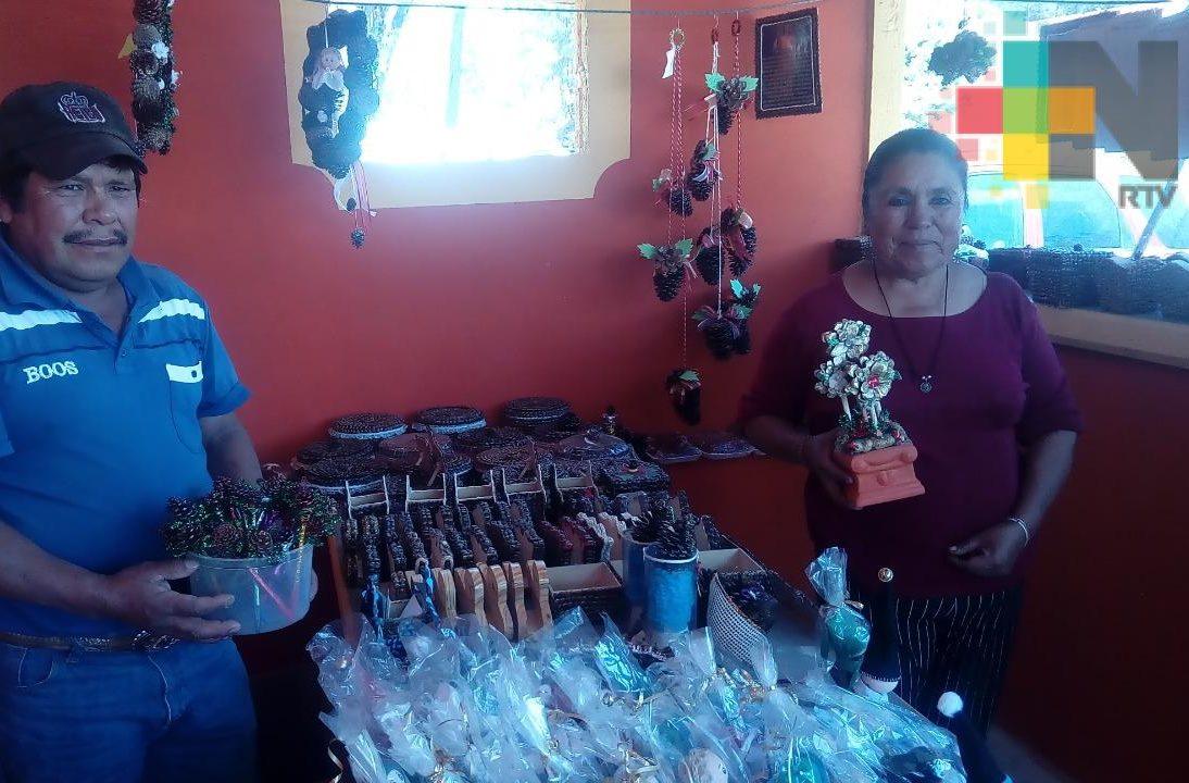 Artesanas de Tlachichilquillo, municipio de Zacualpan, ofrecen sus productos navideños