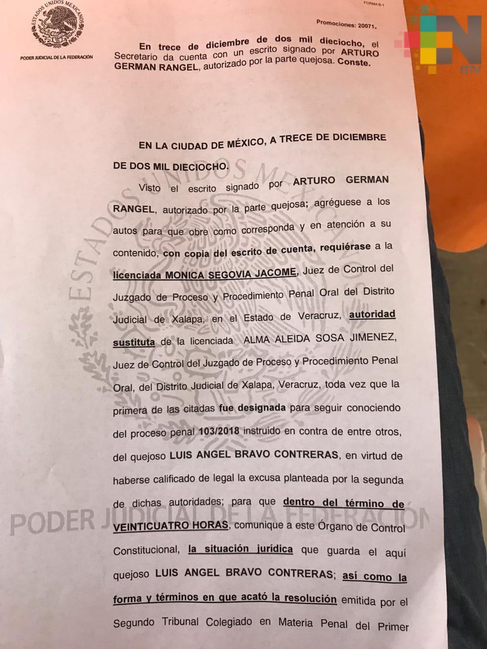 Instruye juez federal libertad de Luis Angel Bravo