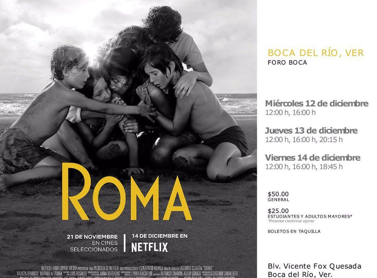 Este jueves exhibirán la película «Roma» en Foro Boca