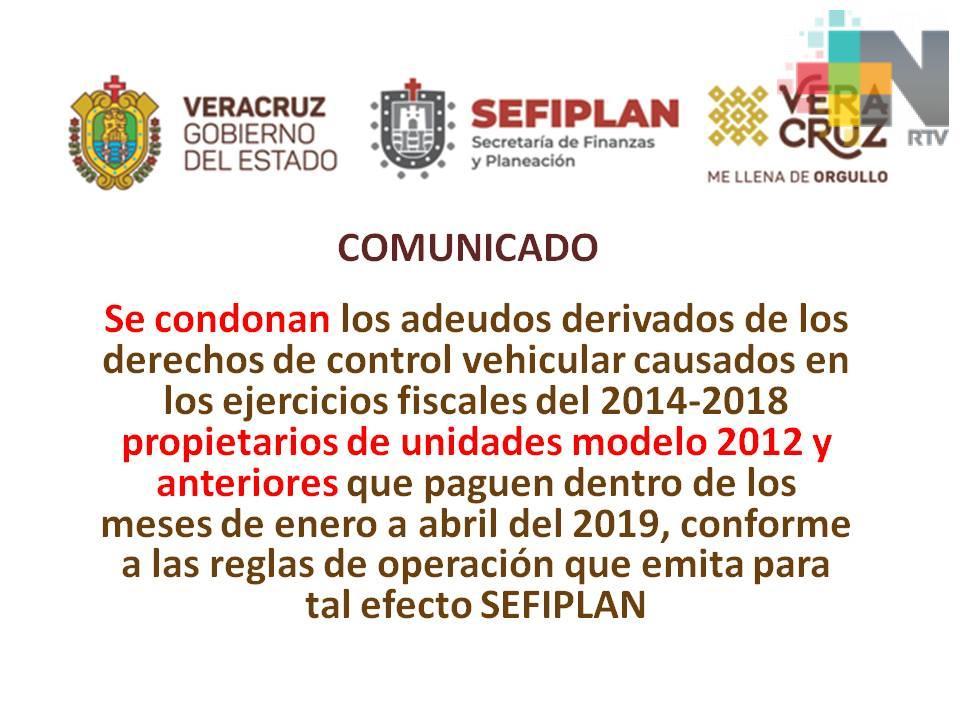 Condonarán adeudos de los derechos de control vehicular del 2014 al 2018