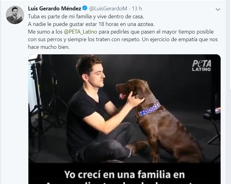 Actor Luis Gerardo Méndez promueve bondad hacia los animales