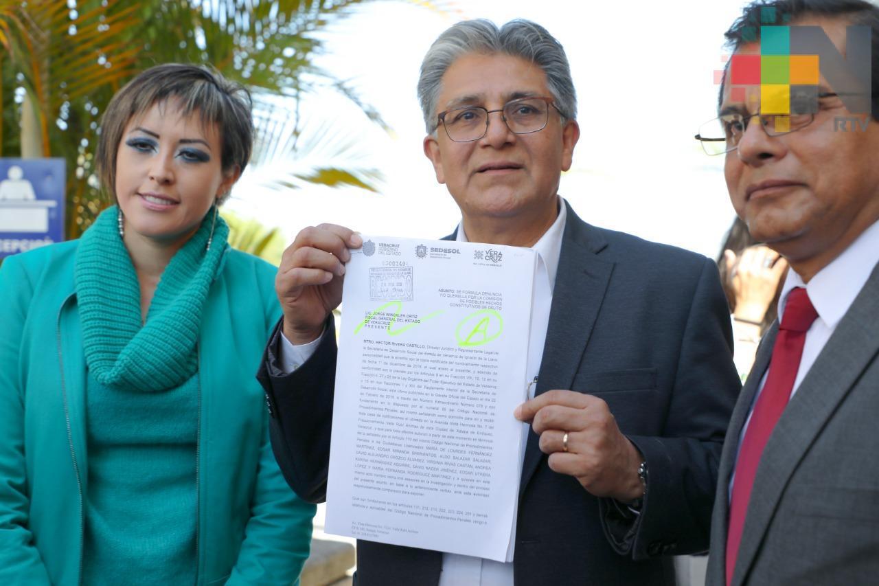 Presenta Sedesol denuncia por posible daño patrimonial