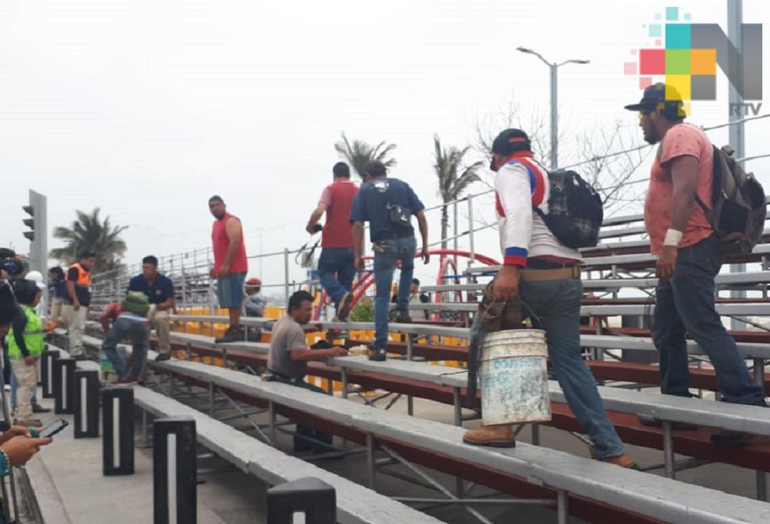 PC supervisa instalación de gradas para Carnaval Veracruz 2019