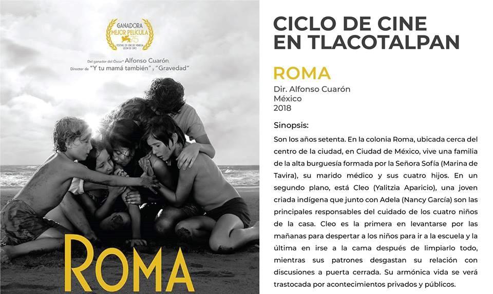 Roma y 3 mujeres proyectadas en Ciclo de Cine Tlacotalpan