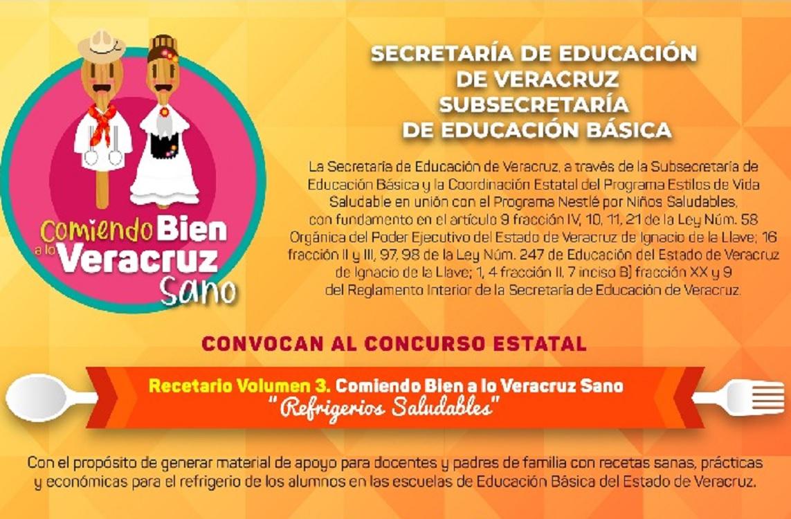 Invita SEV a participar en el Tercer Recetario Comiendo Bien a lo Veracruz Sano