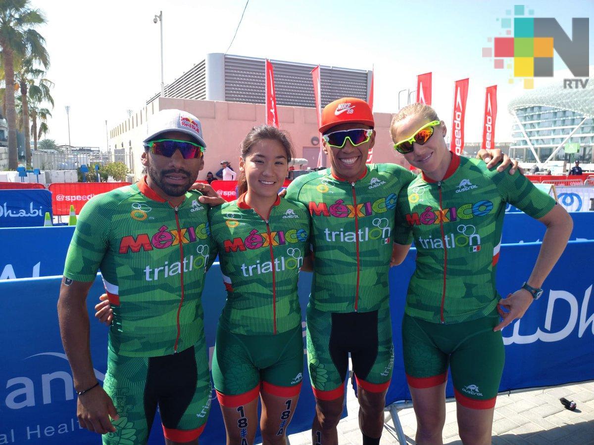 Finaliza México en el lugar 12 en triatlón relevos mixtos de Abu Dhabi