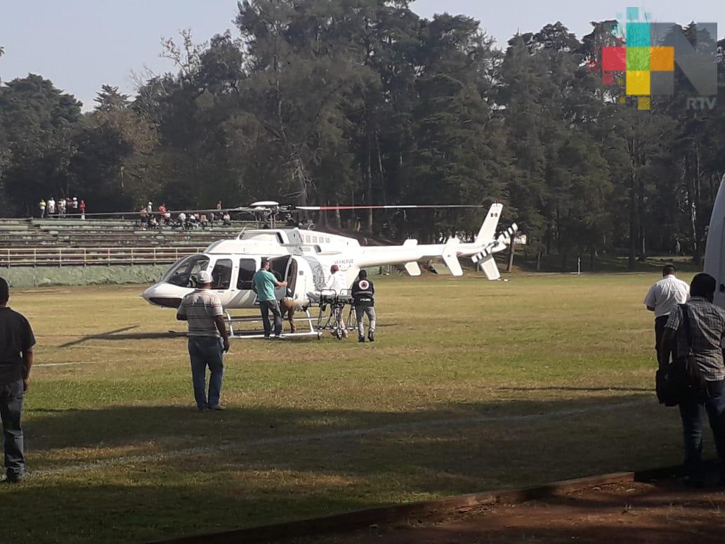 Trasladan a Xalapa en helicóptero, por emergencia, a paciente