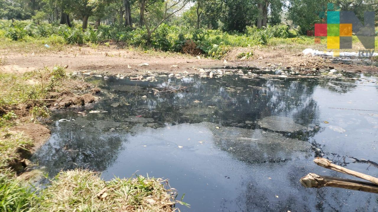 Denuncian a vecina por tapar canal de aguas negras en el municipio de Moloacán
