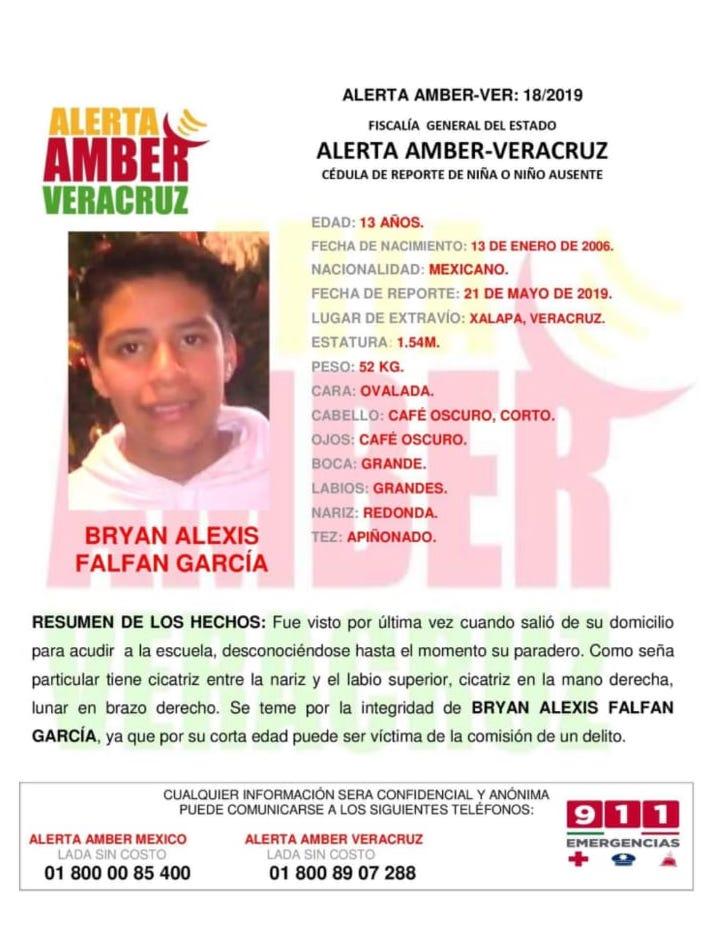 Activan Alerta AMBER para localizar al C. Bryan Alexis Falfan García