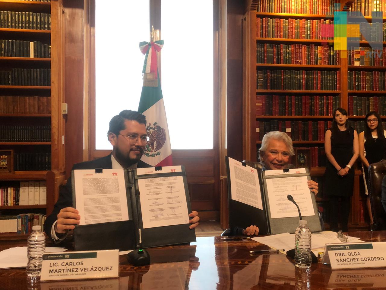 Firman Secretaría de Gobernación e INFONAVIT convenio para validación masiva de la CURP