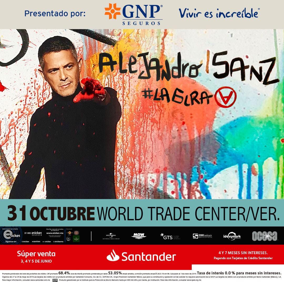 Alejandro Sanz se presentará con #LAGIRA en el World Trade Center de Veracruz