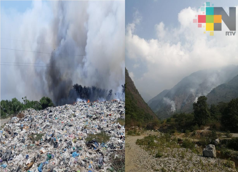 Reporta PC control de un 50% en incendio forestal en Nogales y de 70% en basurero municipal de Tlacotalpan