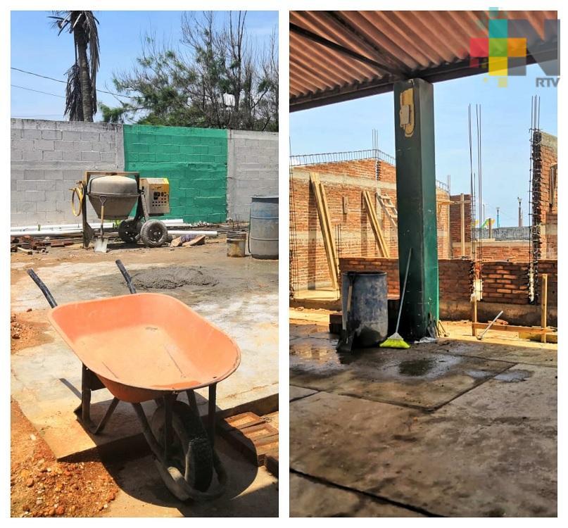 Reanudan trabajos de reconstrucción en el jardín de niños de Coatzacoalcos