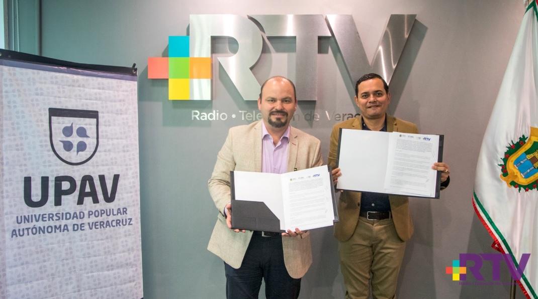 Signan alianza Radiotelevisión de Veracruz y Universidad Popular Autónoma de Veracruz