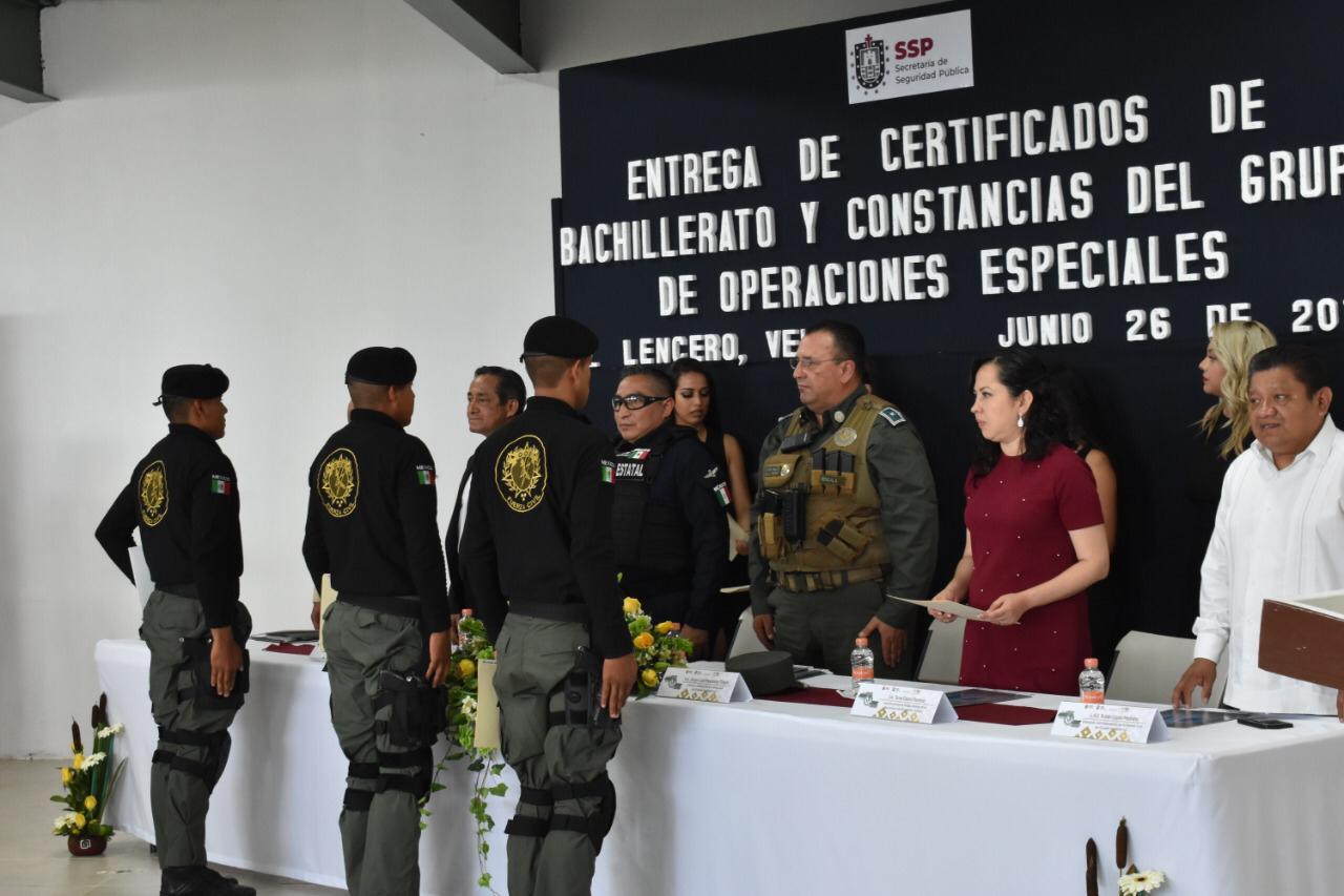 Entrega Fuerza Civil constancias a graduados del Grupo de Operaciones Especiales
