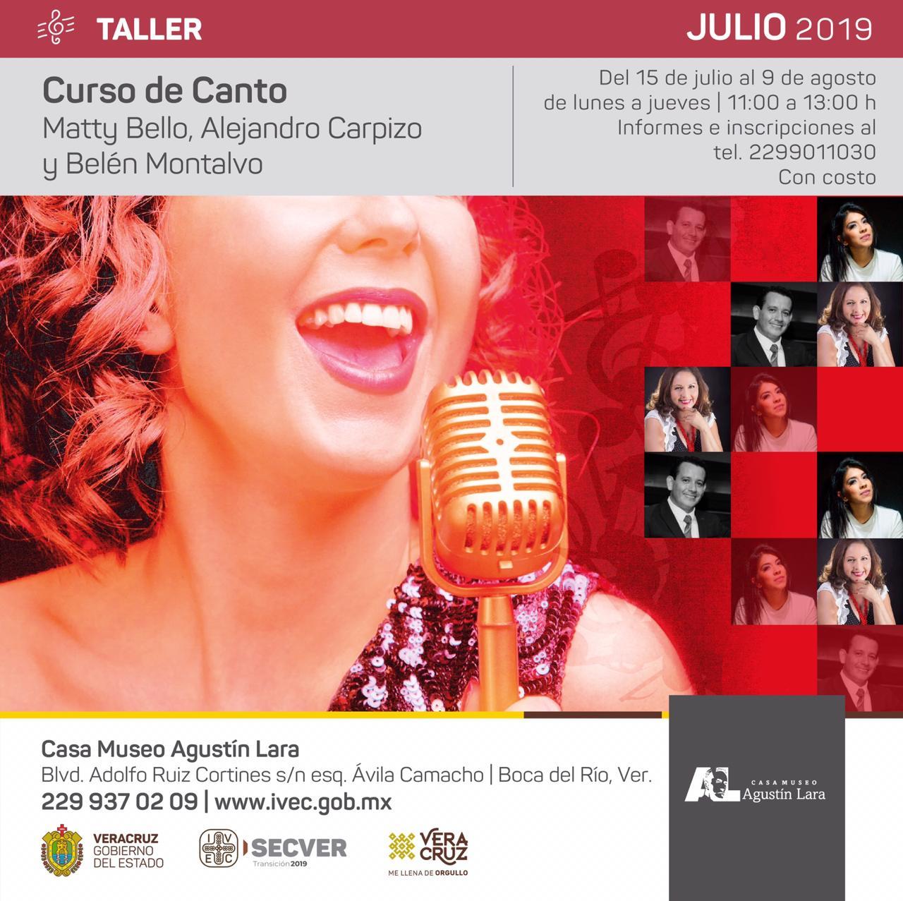 Invita IVEC a curso de canto en Casa Museo Agustín Lara