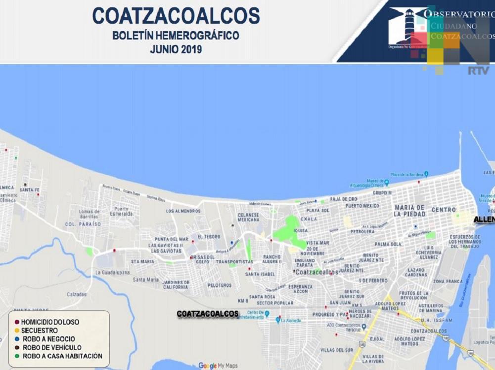 Disminuye un 25% delitos de alto impacto en Coatzacoalcos